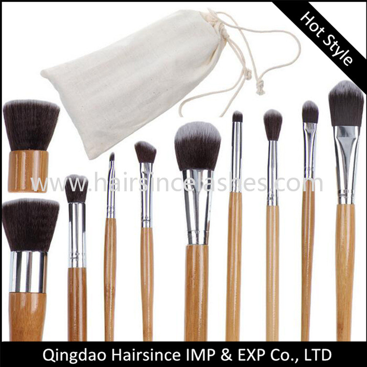 Customized makeup brushes, animal hair brushes with bamboo handle
