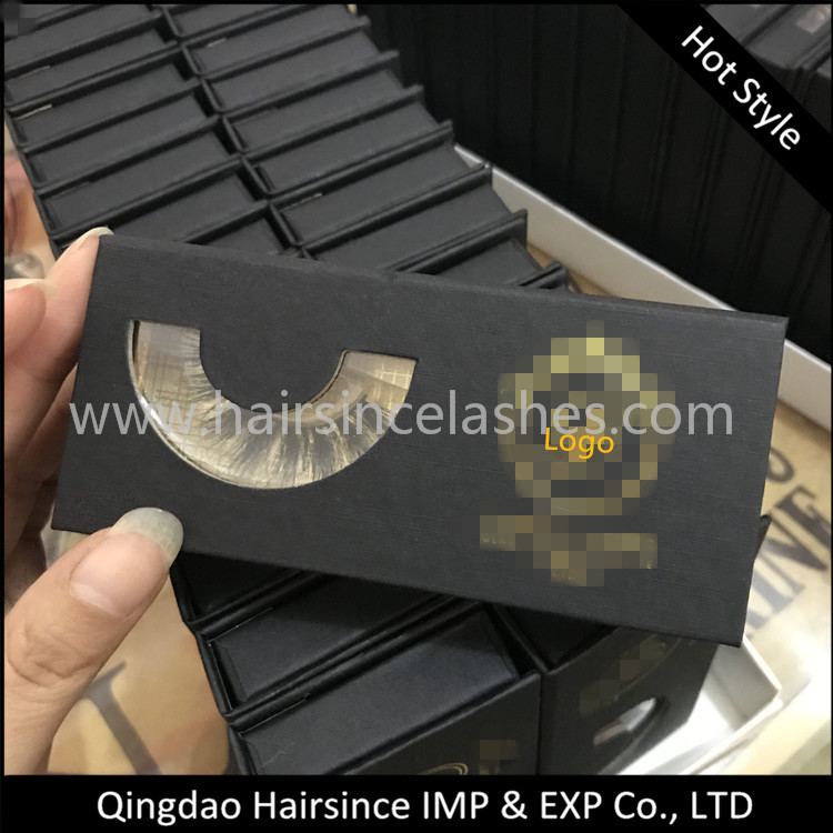 Black art paper magnetic lashes package with window, lashes box, lashes package free design logo free sample