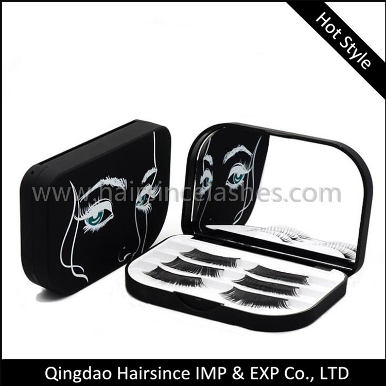 Black color plastic lashes case 3 pair lashes packed, lashes package