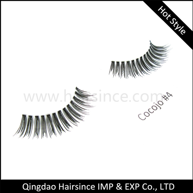 Wispy style silk hair lashes natural style curls 100% handtied mink hair lashes horse hair lashes 3D for sale