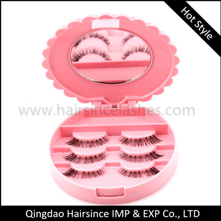 3 pairs plastic lashes case lashes package free logo sticker cheap price lashes products