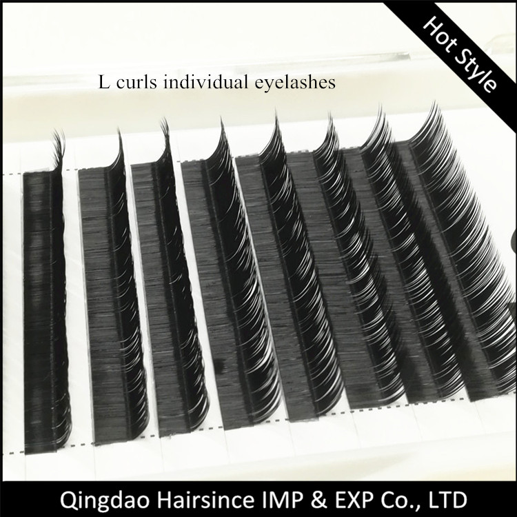 Cheaper individual eyelashes extensions L curls natural silk hair eyelashes extensions for sale