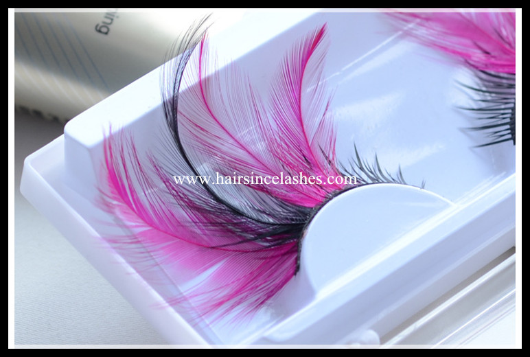 Long feather hair lashes party lashes colored feather lashes for sale