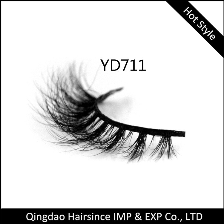 Natural sexy curls 3D mink hair lashes, horse hair lashes, human hair lashes factory supply free sample