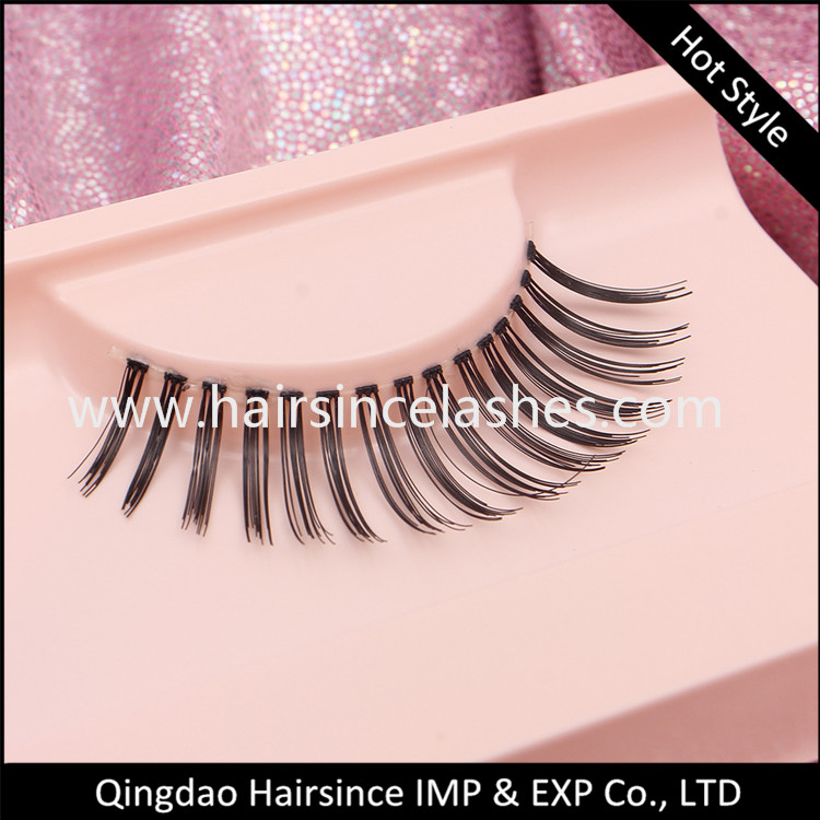 Quality silk human hair lashes glueless silk hair lashes wholesale price