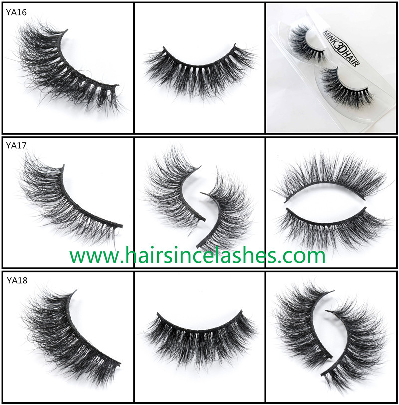 Top quality 3D mink hair lashes catalog eyelashes black cotton band for sale