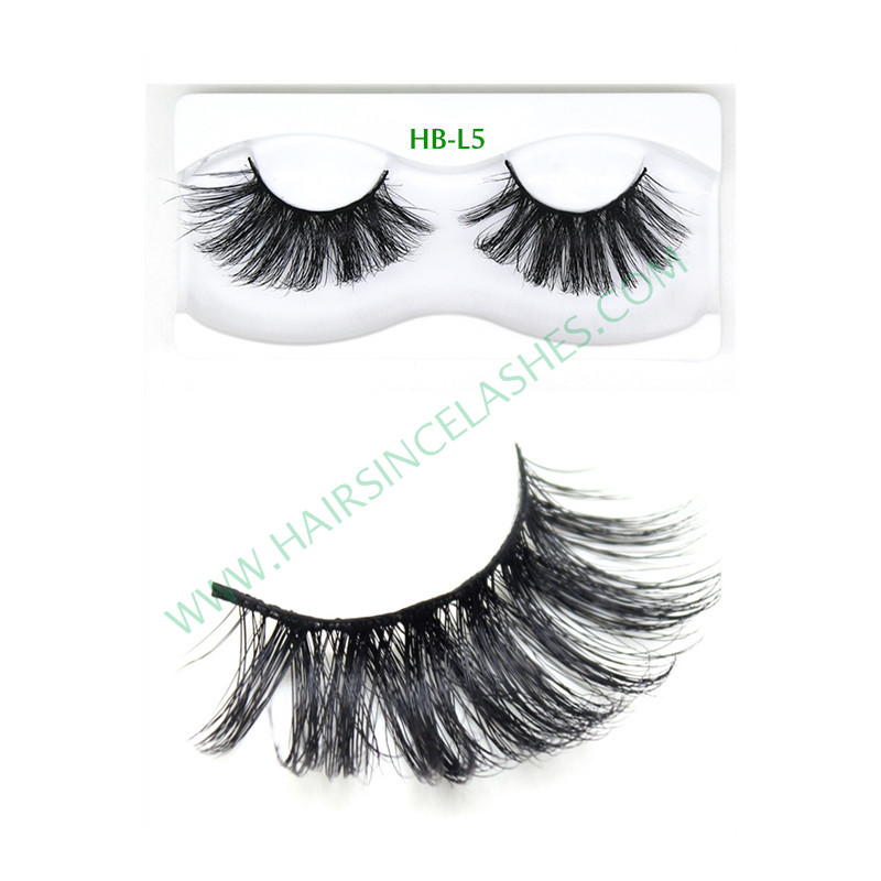 Popular style 5D mink hair lashes natural curls black band eyelashes