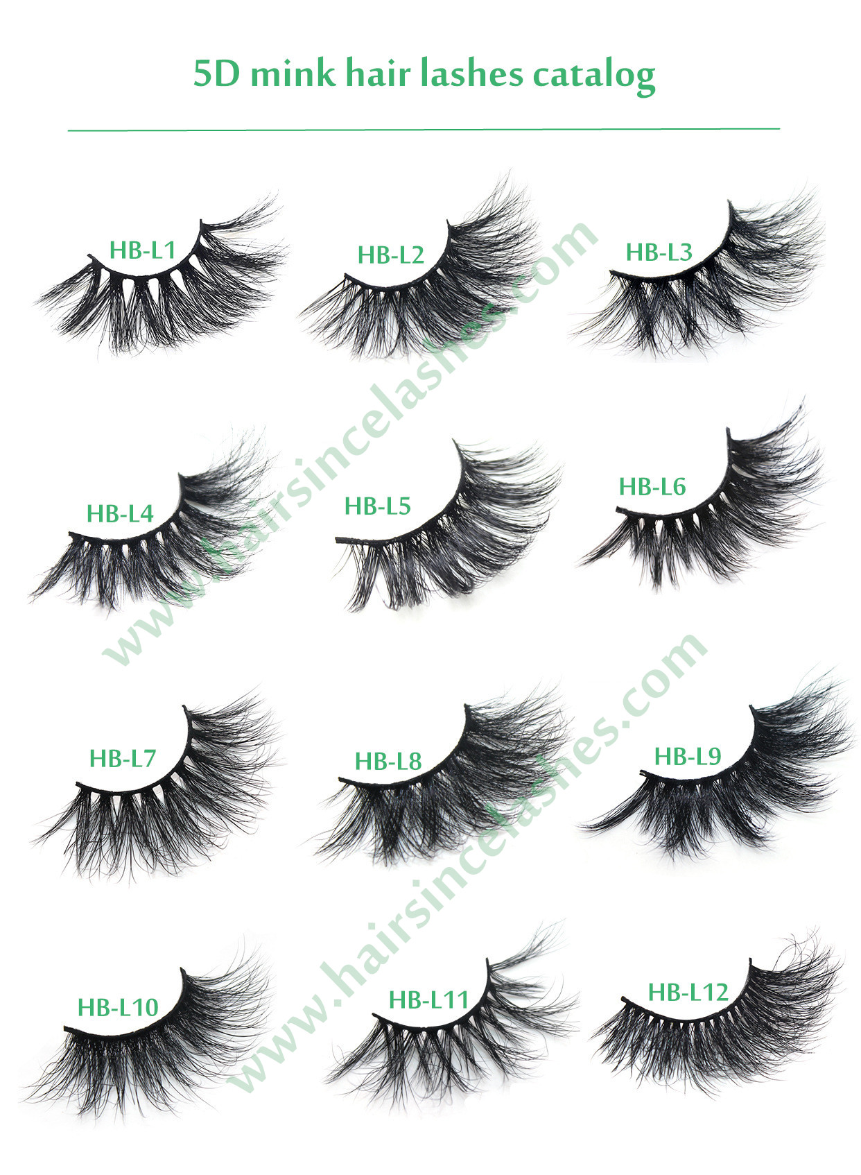 Alibaba hot styles mink hair lashes with 5D natural curls