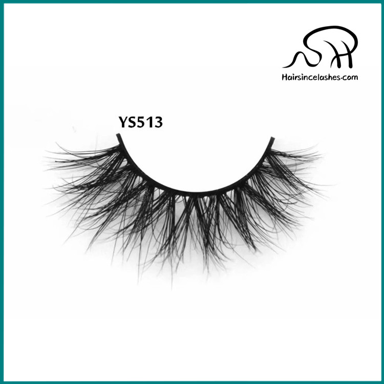 Mink hair lashes with small band natural 3D curls volume style mink lashes