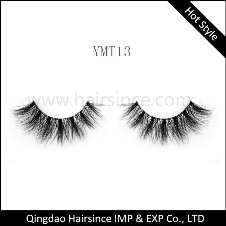 Alibaba top quality mink hair lashes transparent soft band 3D curls styles fluffy design on sale