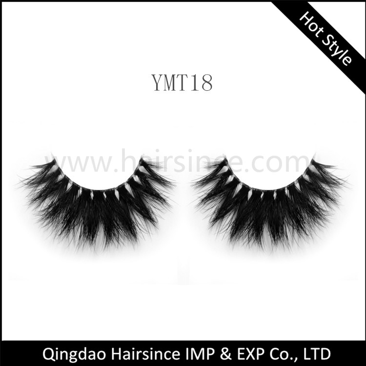 Factory full handmade mink hair lashes 3D with clear band showing