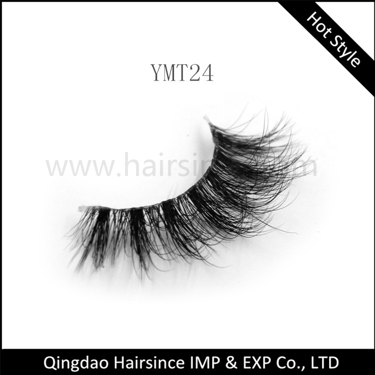 Factory best quality fluffy 3D mink hair lashes with clear band alibaba popular styles