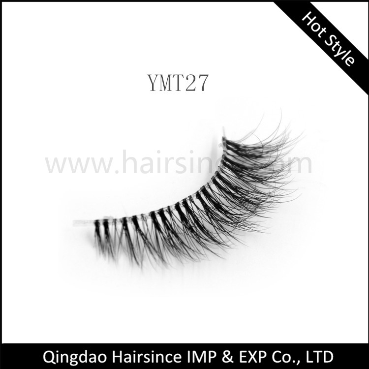 3D mink hair lashes clear band design soft invisible band fluffy mink hair lashes