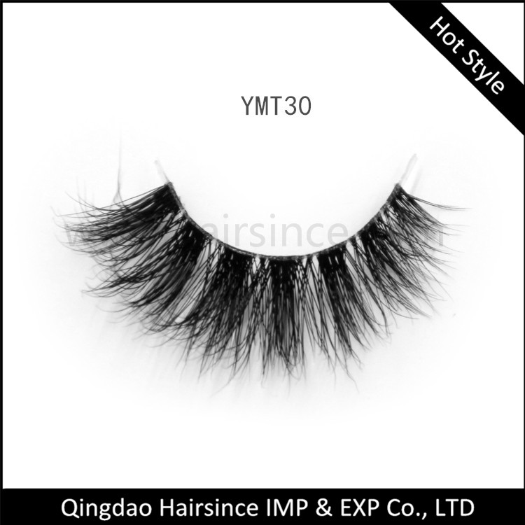 Thick fluffy 3D mink hair lashes with clear band high quality from factory