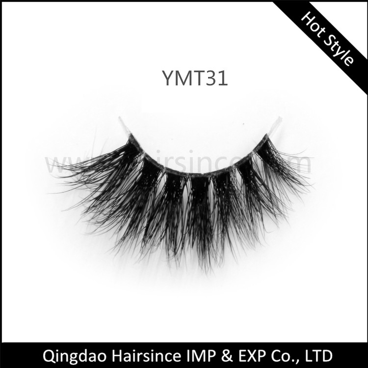 Wholesale price 3D mink hair lashes with clear band fluffy thick styles