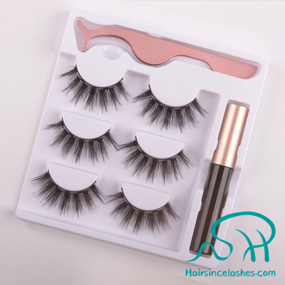 Magnetic lashes magntic eyeliner faux mink hair lashes 3 pair per set wholesale price