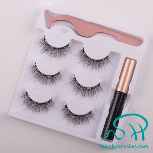 Easy magnetic lashes with magnetic eyeliner soft silk hair lashes with tweezers free sample