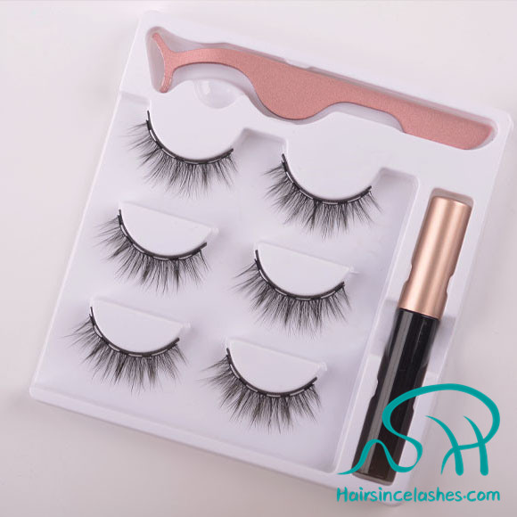 Hot sale silk hair lashes with magnetic eyeliner wholesale price