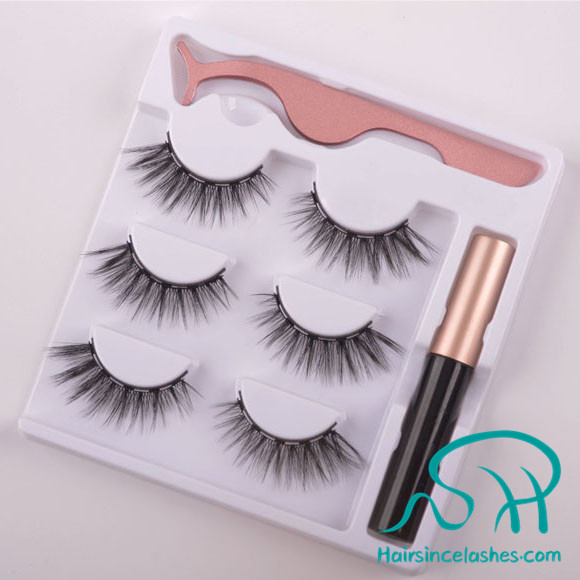 Alibaba wholesale price silk hair lashes with 5 pcs magnetic and magnetic eyeliner free sample