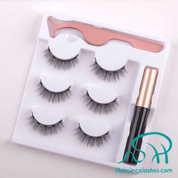 Magnetic eyeliner silk faux mink hair lashes free sample hot sale from Alibaba